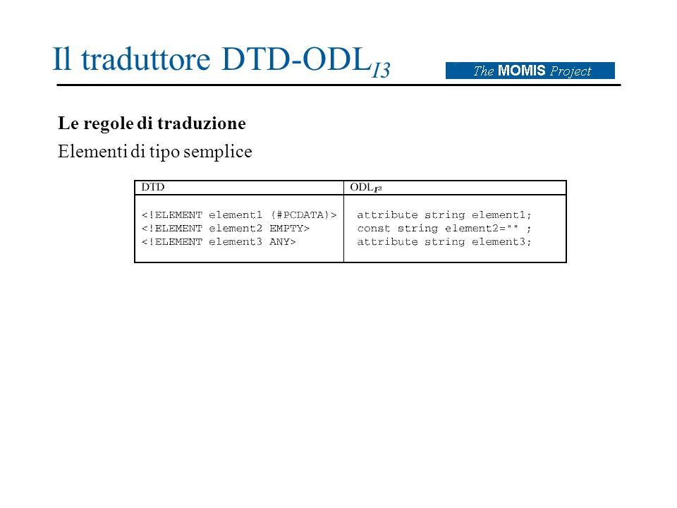 Il traduttore DTD-ODL I3 Le regole di traduzione Elementi di tipo semplice