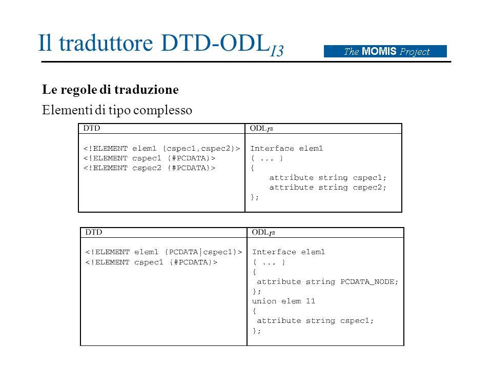 Il traduttore DTD-ODL I3 Le regole di traduzione Elementi di tipo complesso