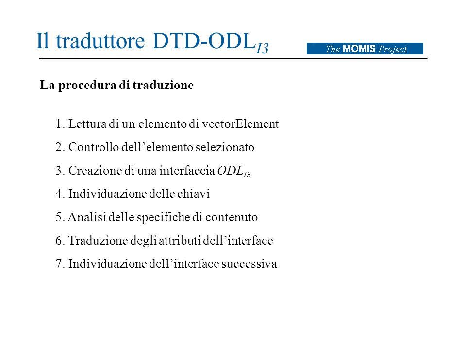 Il traduttore DTD-ODL I3 La procedura di traduzione 1.