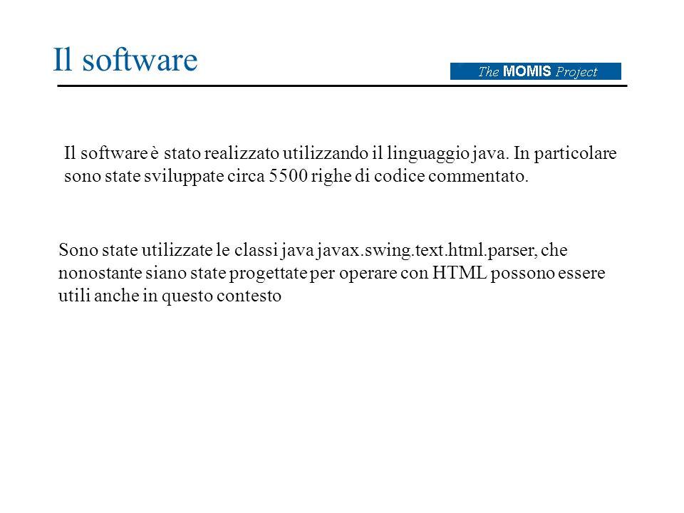 Il software Il software è stato realizzato utilizzando il linguaggio java.