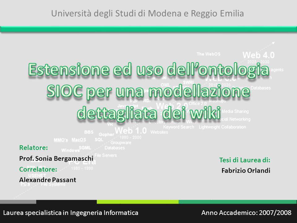 Relatore: Prof. Sonia Bergamaschi Correlatore: Alexandre Passant Tesi di Laurea di: Fabrizio Orlandi Laurea specialistica in Ingegneria Informatica An