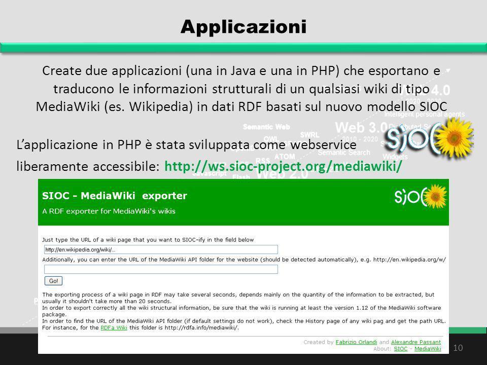 Applicazioni Create due applicazioni (una in Java e una in PHP) che esportano e traducono le informazioni strutturali di un qualsiasi wiki di tipo Med