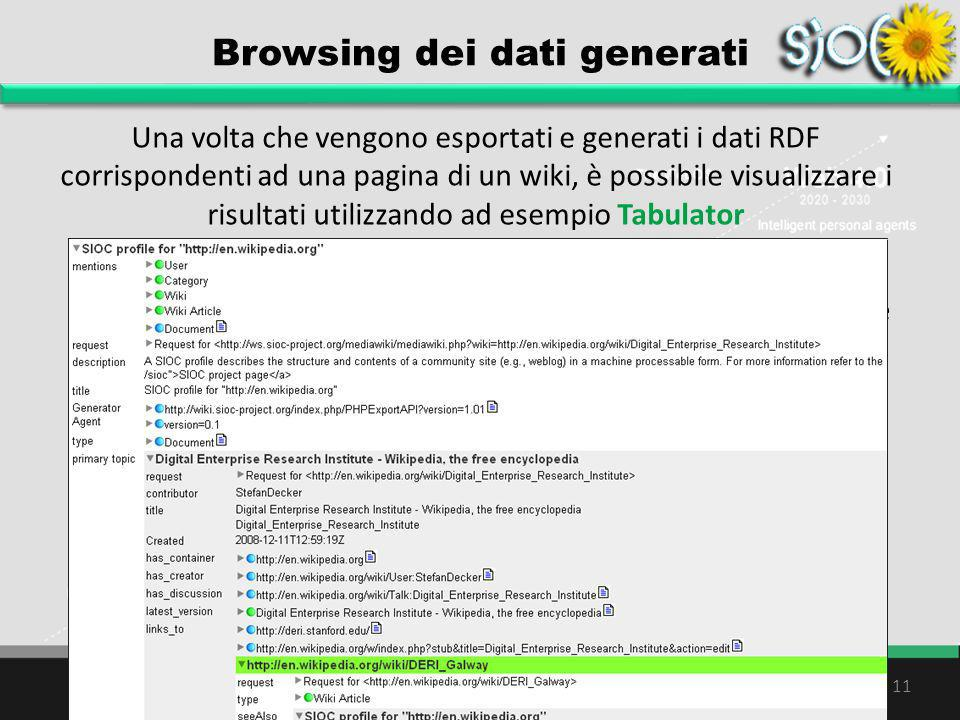 Browsing dei dati generati Una volta che vengono esportati e generati i dati RDF corrispondenti ad una pagina di un wiki, è possibile visualizzare i r