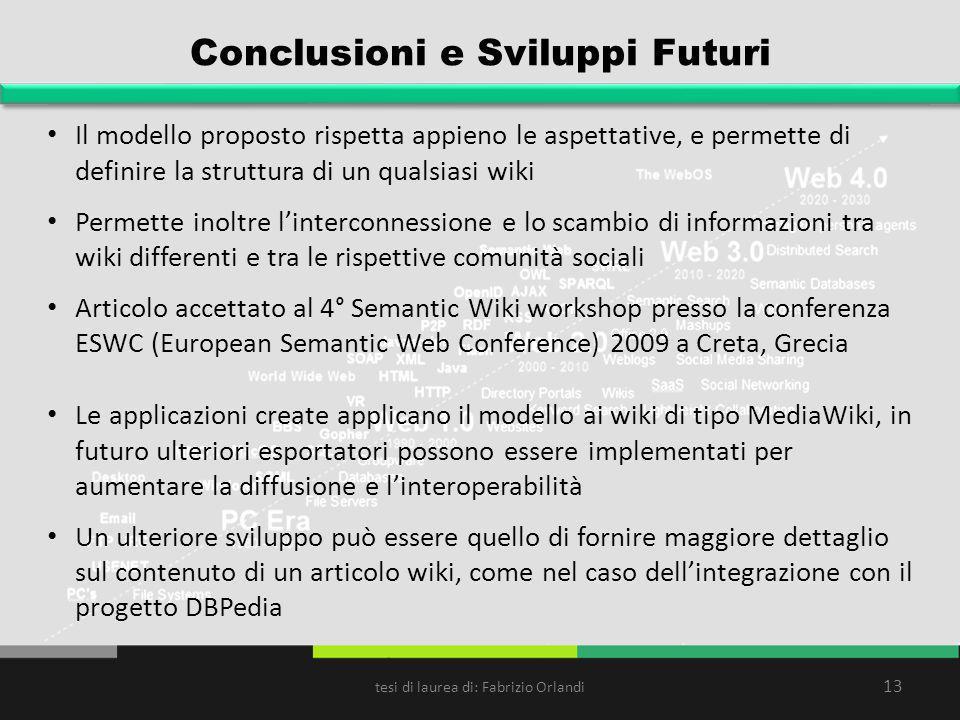 Conclusioni e Sviluppi Futuri Il modello proposto rispetta appieno le aspettative, e permette di definire la struttura di un qualsiasi wiki Permette i