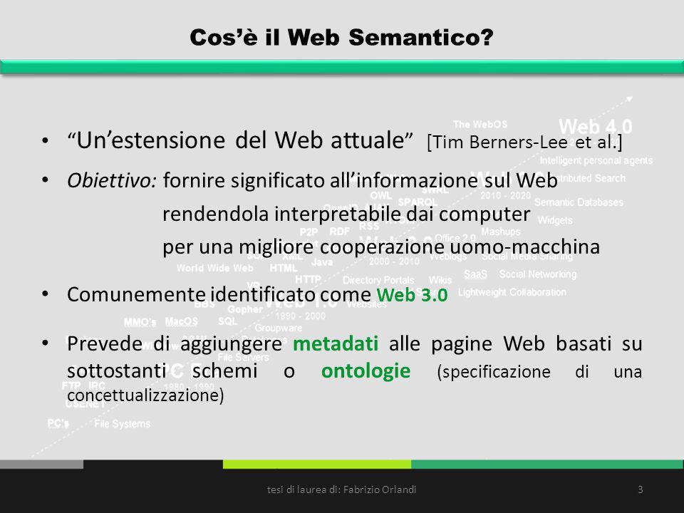 Cosè il Web Semantico? Unestensione del Web attuale [Tim Berners-Lee et al.] Obiettivo: fornire significato allinformazione sul Web rendendola interpr