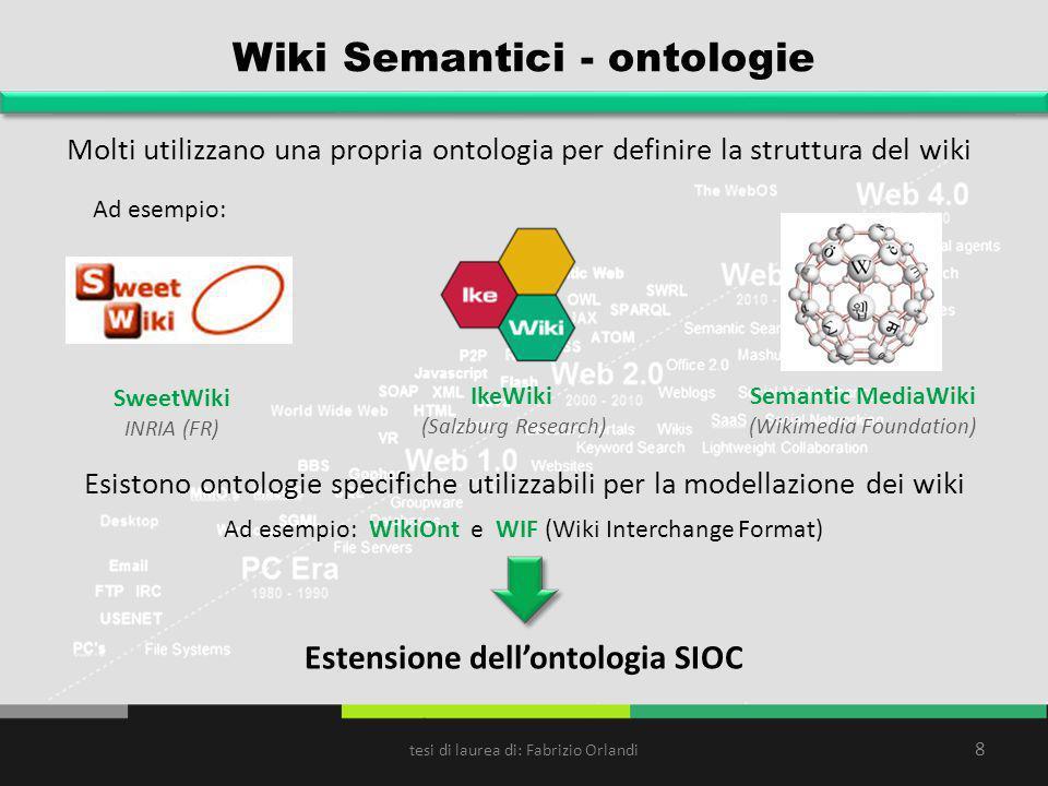 Wiki Semantici - ontologie Molti utilizzano una propria ontologia per definire la struttura del wiki 8 Ad esempio: Esistono ontologie specifiche utili