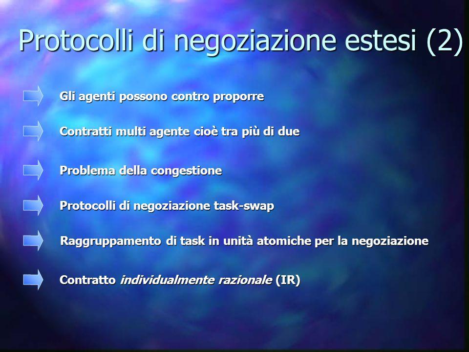 Protocolli di negoziazione estesi (2) Protocolli di negoziazione estesi (2) Gli agenti possono contro proporre Contratti multi agente cioè tra più di