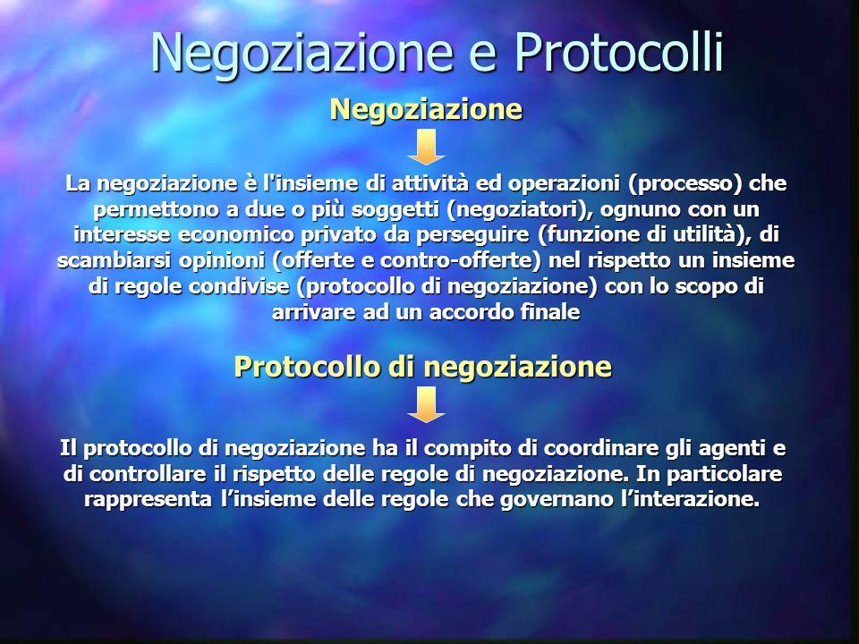 Negoziazione e Protocolli La negoziazione è l'insieme di attività ed operazioni (processo) che permettono a due o più soggetti (negoziatori), ognuno c