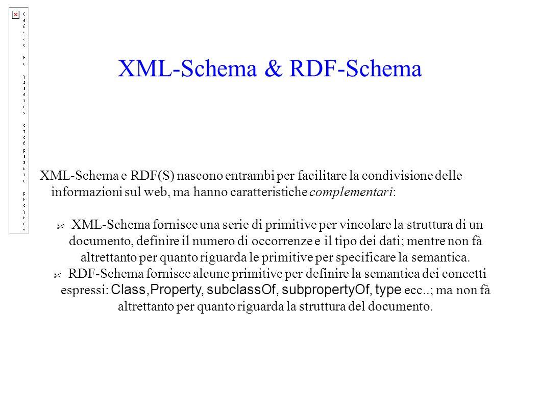 XML-Schema & RDF-Schema XML-Schema e RDF(S) nascono entrambi per facilitare la condivisione delle informazioni sul web, ma hanno caratteristiche complementari: XML-Schema fornisce una serie di primitive per vincolare la struttura di un documento, definire il numero di occorrenze e il tipo dei dati; mentre non fà altrettanto per quanto riguarda le primitive per specificare la semantica.