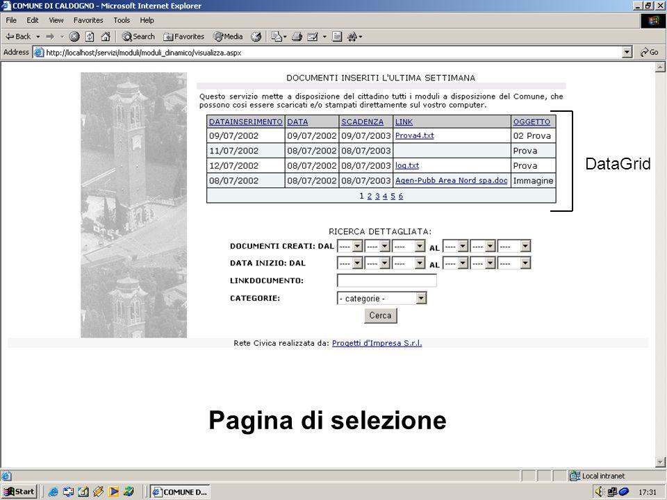 Pagina di selezione DataGrid