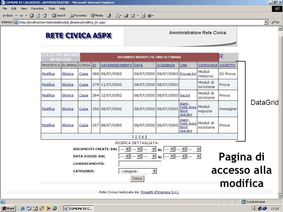 Pagina di accesso alla modifica DataGrid