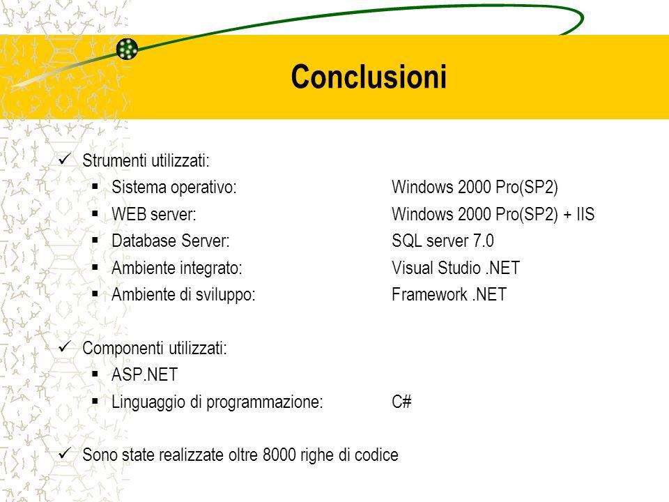 Conclusioni Strumenti utilizzati: Sistema operativo: Windows 2000 Pro(SP2) WEB server: Windows 2000 Pro(SP2) + IIS Database Server:SQL server 7.0 Ambi