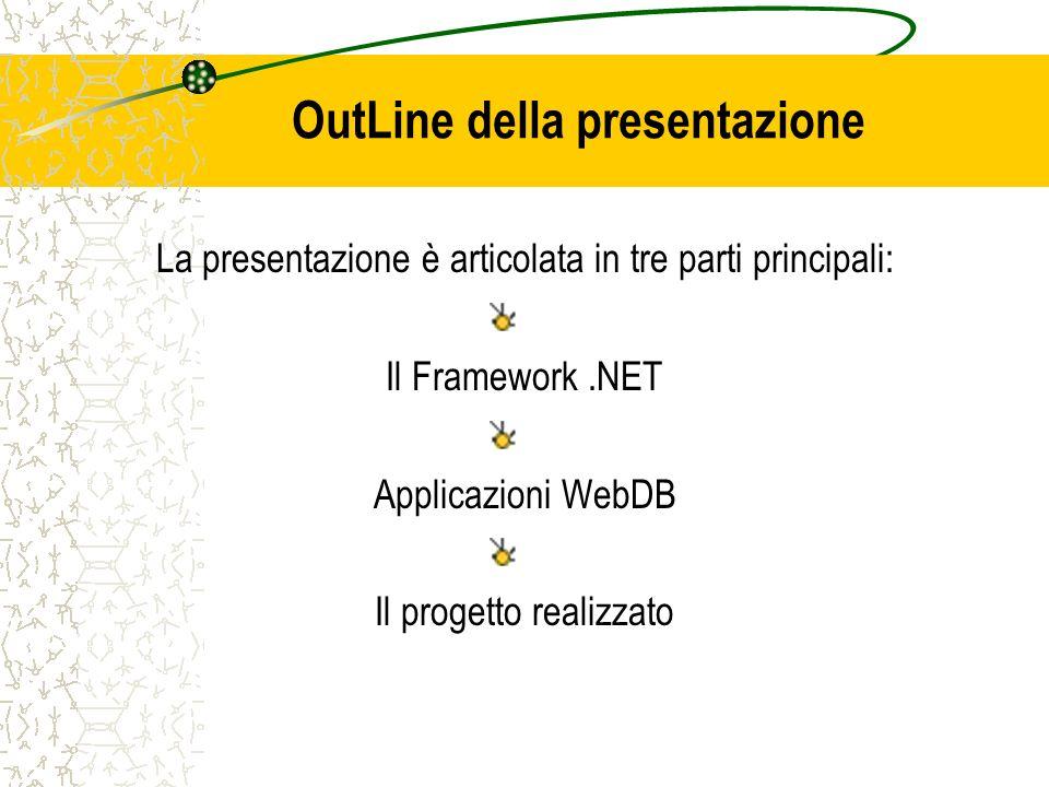 OutLine della presentazione La presentazione è articolata in tre parti principali: Il Framework.NET Applicazioni WebDB Il progetto realizzato