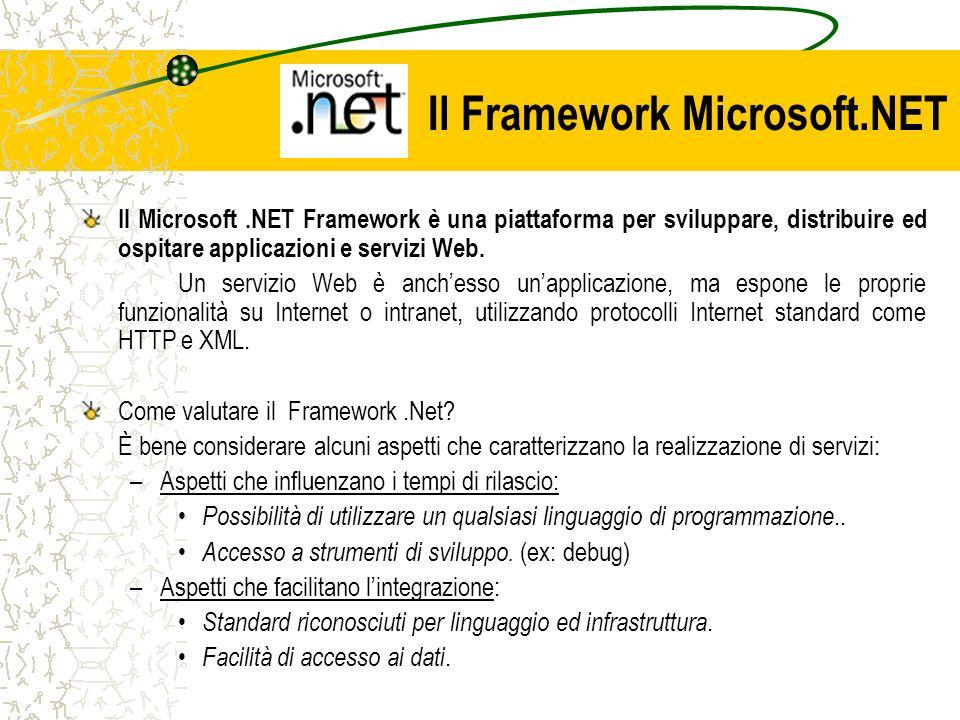 Il Framework Microsoft.NET Il Microsoft.NET Framework è una piattaforma per sviluppare, distribuire ed ospitare applicazioni e servizi Web. Un servizi