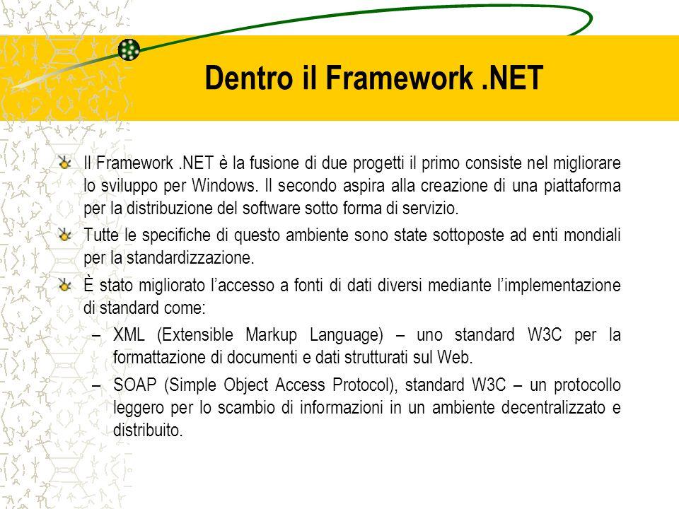Dentro il Framework.NET Il Framework.NET è la fusione di due progetti il primo consiste nel migliorare lo sviluppo per Windows. Il secondo aspira alla