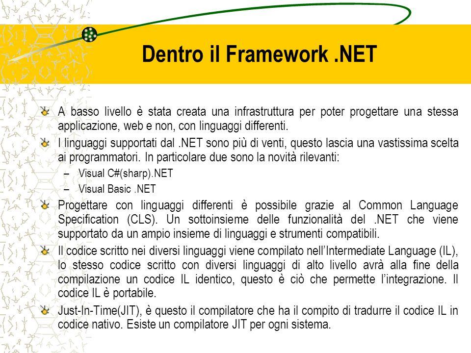 Dentro il Framework.NET A basso livello è stata creata una infrastruttura per poter progettare una stessa applicazione, web e non, con linguaggi diffe