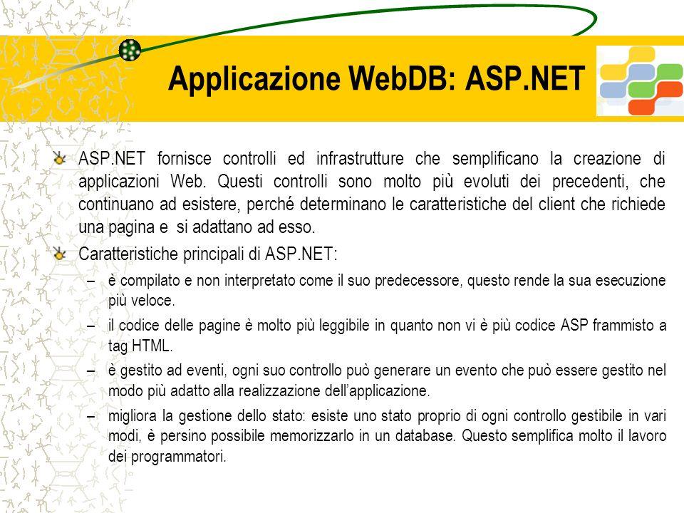 Applicazione WebDB: ASP.NET ASP.NET fornisce controlli ed infrastrutture che semplificano la creazione di applicazioni Web. Questi controlli sono molt