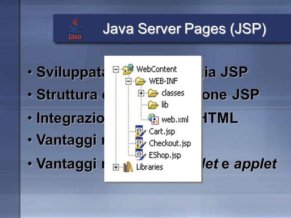 Java Server Pages (JSP) Integrazione tra Java e HTML Integrazione tra Java e HTML Vantaggi rispetto a CGI Vantaggi rispetto a CGI Vantaggi rispetto a servlet e applet Vantaggi rispetto a servlet e applet Sviluppata con tecnologia JSP Sviluppata con tecnologia JSP Struttura di unapplicazione JSP Struttura di unapplicazione JSP