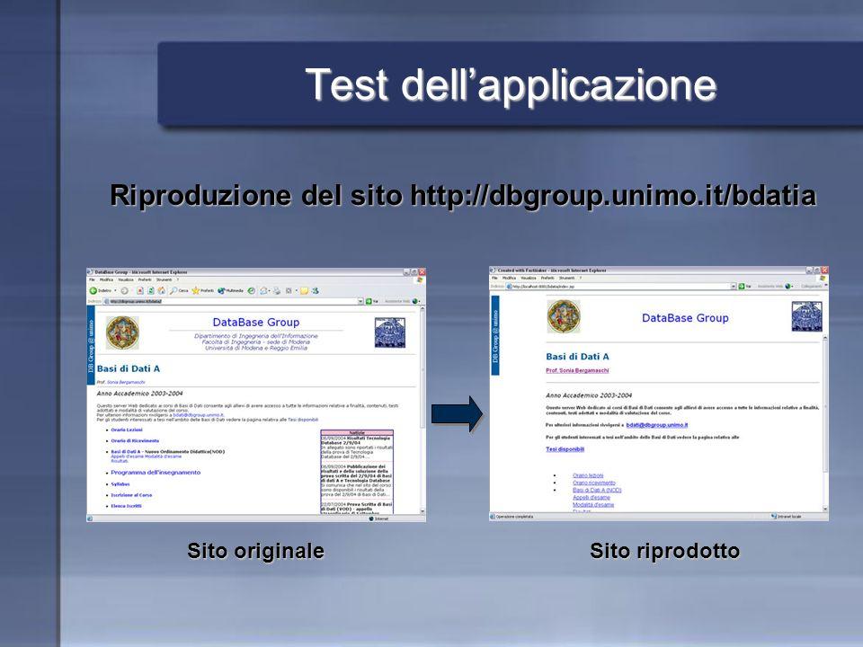 Test dellapplicazione Riproduzione del sito http://dbgroup.unimo.it/bdatia Sito originale Sito riprodotto