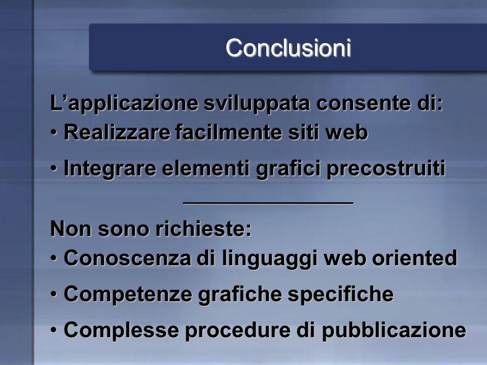 Conclusioni Lapplicazione sviluppata consente di: Realizzare facilmente siti web Realizzare facilmente siti web Integrare elementi grafici precostruit