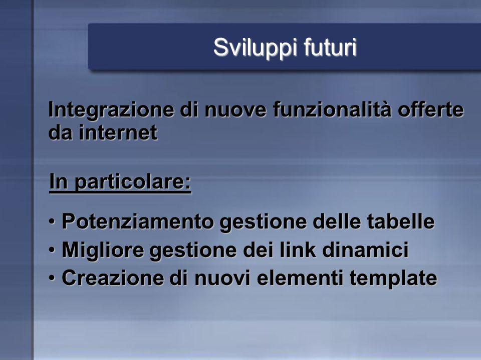 Sviluppi futuri In particolare: Integrazione di nuove funzionalità offerte da internet Potenziamento gestione delle tabelle Potenziamento gestione del