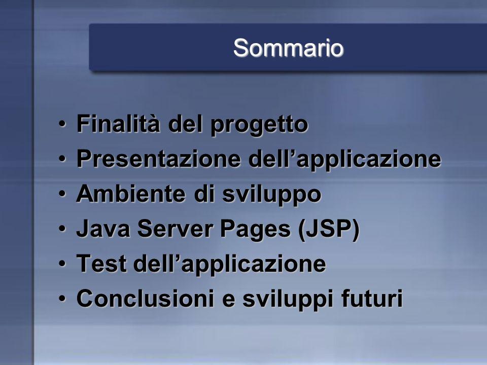 Sommario Finalità del progettoFinalità del progetto Presentazione dellapplicazionePresentazione dellapplicazione Ambiente di sviluppoAmbiente di sviluppo Java Server Pages (JSP)Java Server Pages (JSP) Test dellapplicazioneTest dellapplicazione Conclusioni e sviluppi futuriConclusioni e sviluppi futuri