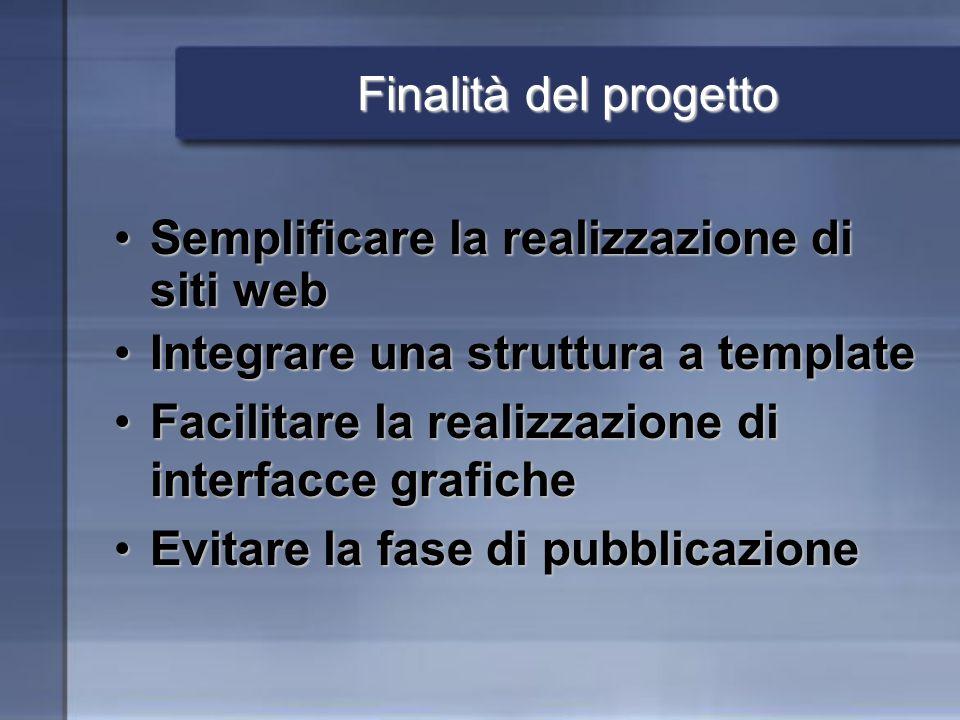 Finalità del progetto Semplificare la realizzazione di siti webSemplificare la realizzazione di siti web Integrare una struttura a templateIntegrare u