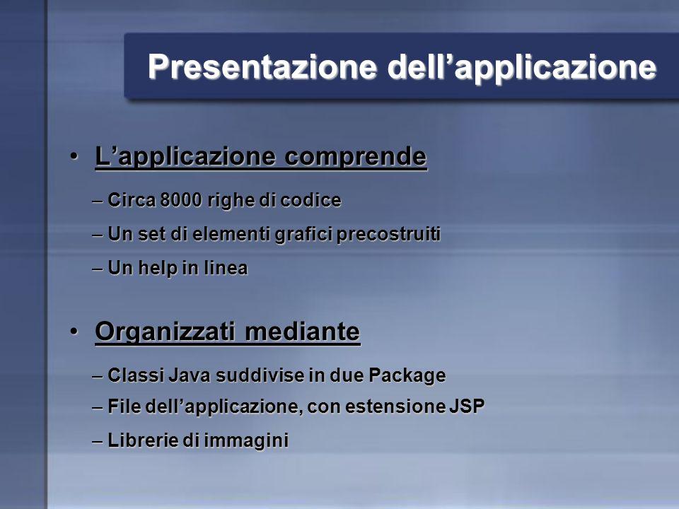 Presentazione dellapplicazione Lapplicazione comprendeLapplicazione comprende Organizzati medianteOrganizzati mediante – Circa 8000 righe di codice – Un set di elementi grafici precostruiti – Un help in linea – File dellapplicazione, con estensione JSP – Classi Java suddivise in due Package – Librerie di immagini
