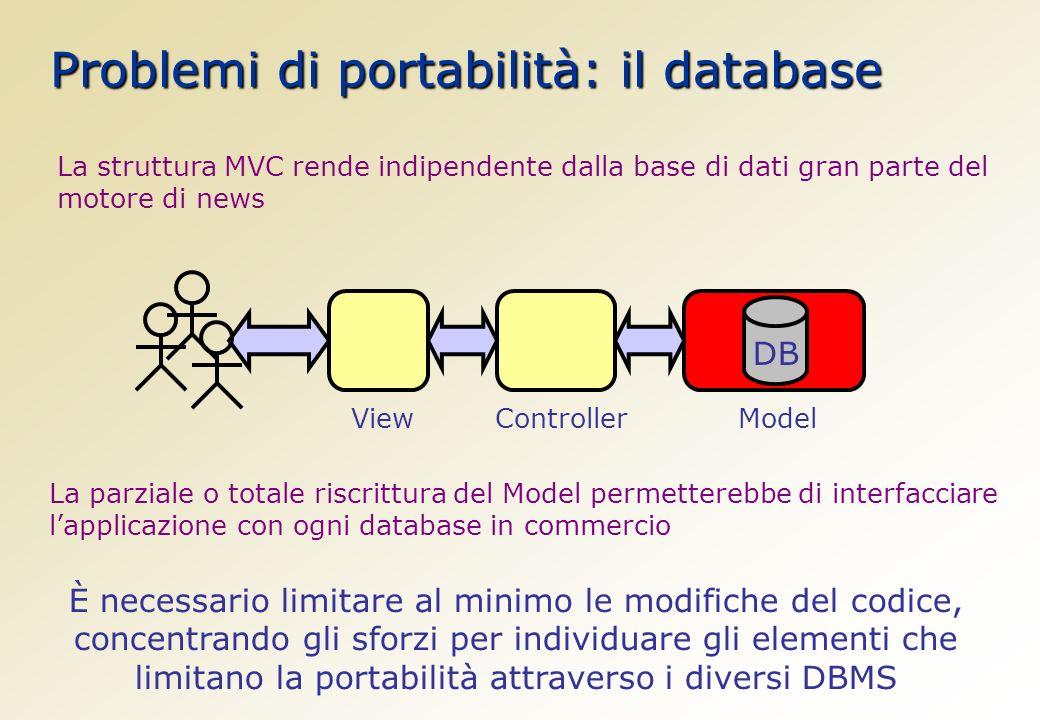 Problemi di portabilità: il database La struttura MVC rende indipendente dalla base di dati gran parte del motore di news DB ViewControllerModel La parziale o totale riscrittura del Model permetterebbe di interfacciare lapplicazione con ogni database in commercio È necessario limitare al minimo le modifiche del codice, concentrando gli sforzi per individuare gli elementi che limitano la portabilità attraverso i diversi DBMS