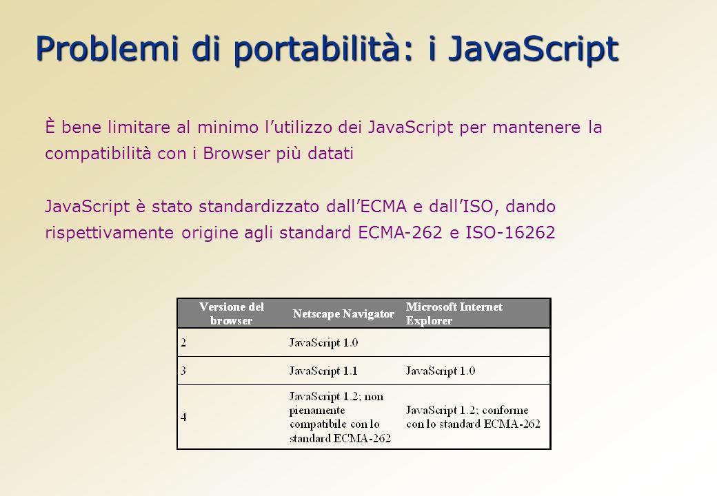 Problemi di portabilità: i JavaScript È bene limitare al minimo lutilizzo dei JavaScript per mantenere la compatibilità con i Browser più datati JavaScript è stato standardizzato dallECMA e dallISO, dando rispettivamente origine agli standard ECMA-262 e ISO-16262