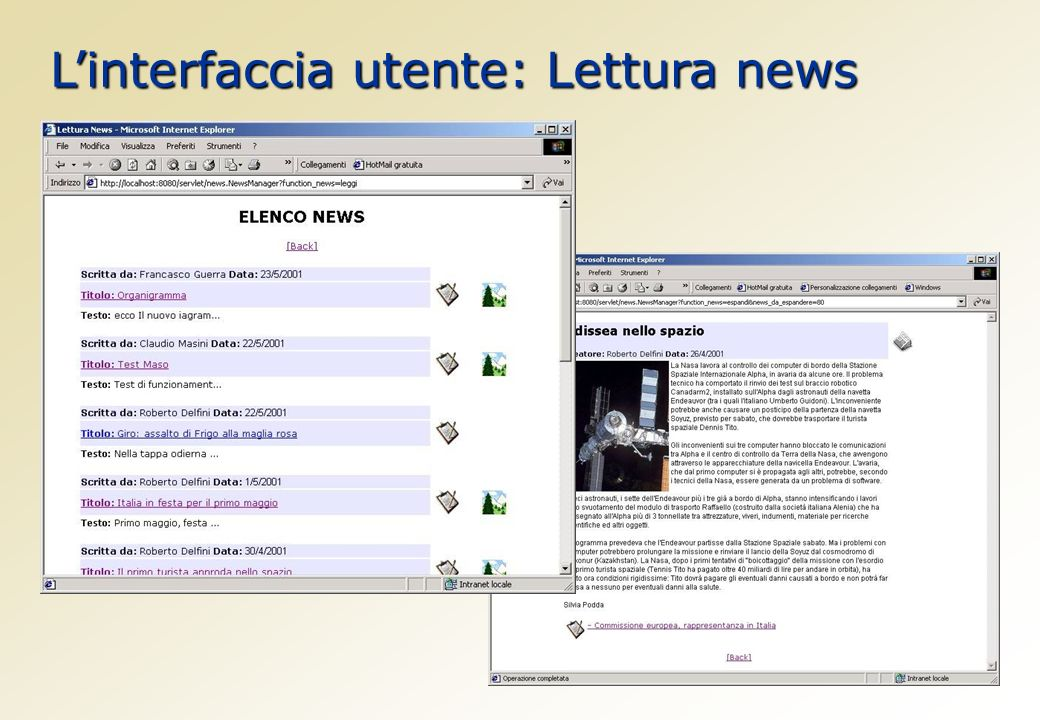 Linterfaccia utente: Lettura news