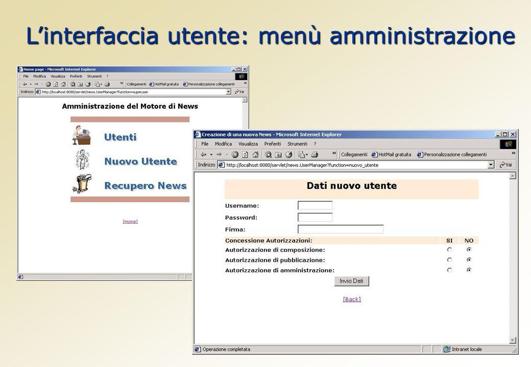 Linterfaccia utente: menù amministrazione