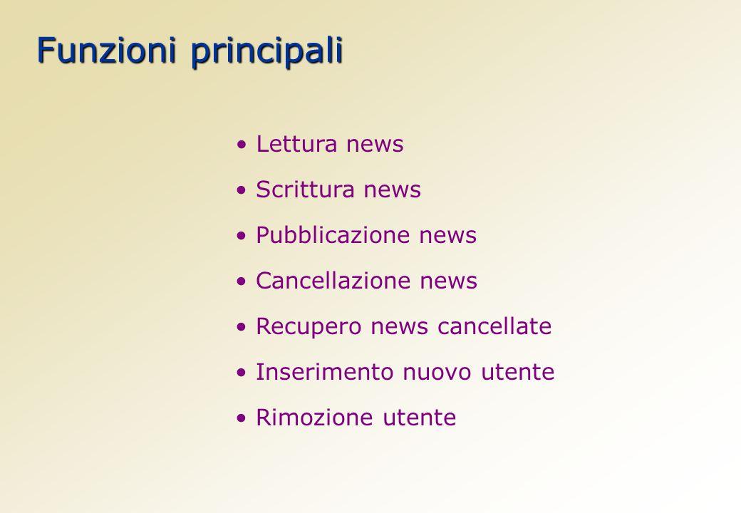 Funzioni principali Scrittura news Cancellazione news Inserimento nuovo utente Lettura news Pubblicazione news Recupero news cancellate Rimozione utente
