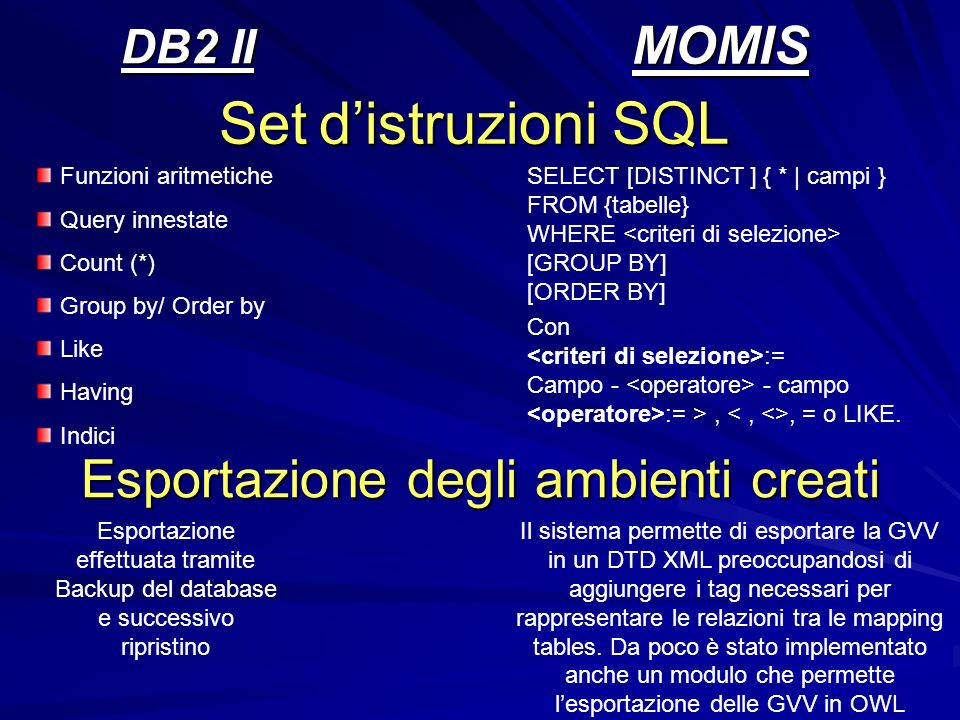 DB2 II MOMIS Set distruzioni SQL Funzioni aritmetiche Query innestate Count (*) Group by/ Order by Like Having Indici SELECT [DISTINCT ] { * | campi }