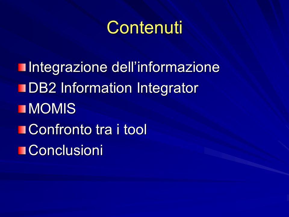 Contenuti Integrazione dellinformazione DB2 Information Integrator MOMIS Confronto tra i tool Conclusioni
