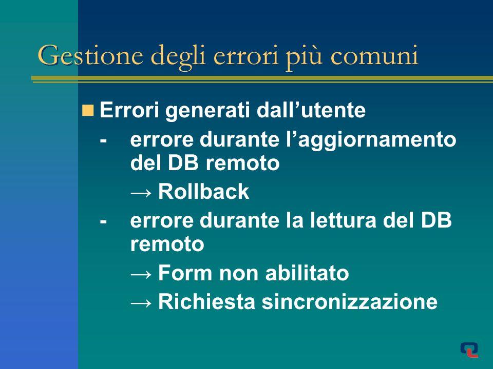 Gestione degli errori più comuni Errori generati dallutente - errore durante laggiornamento del DB remoto Rollback -errore durante la lettura del DB remoto Form non abilitato Richiesta sincronizzazione