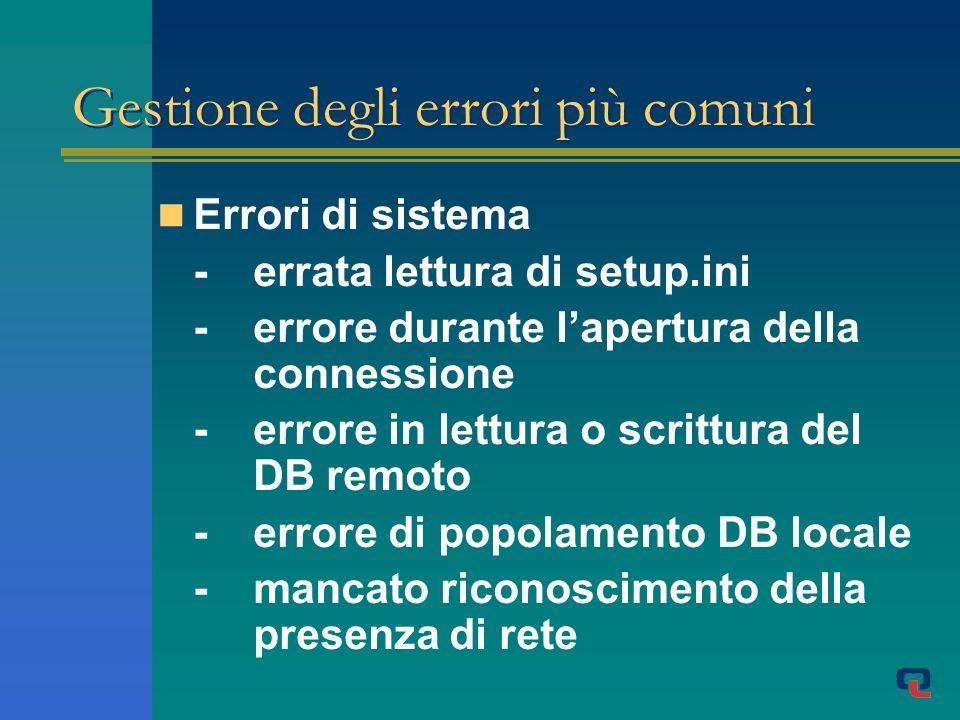 Gestione degli errori più comuni Errori di sistema -errata lettura di setup.ini -errore durante lapertura della connessione -errore in lettura o scrittura del DB remoto -errore di popolamento DB locale -mancato riconoscimento della presenza di rete