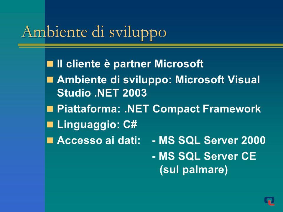 Ambiente di sviluppo Il cliente è partner Microsoft Ambiente di sviluppo: Microsoft Visual Studio.NET 2003 Piattaforma:.NET Compact Framework Linguaggio: C# Accesso ai dati: - MS SQL Server 2000 - MS SQL Server CE (sul palmare)
