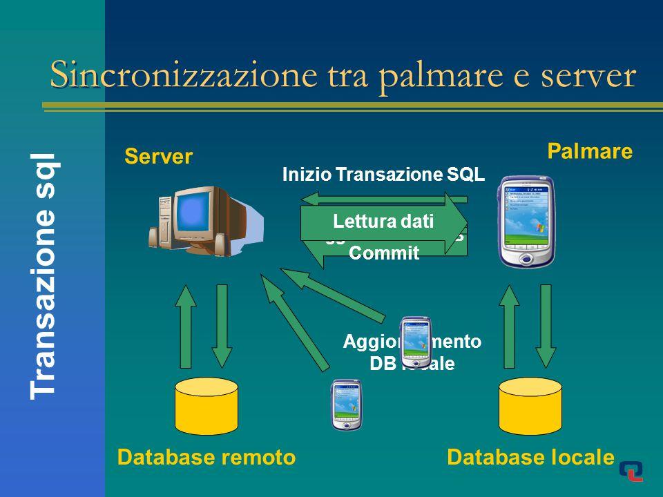 Palmare Aggiornamento DB Sincronizzazione tra palmare e server Server Database remoto Inizio Transazione SQL Commit Database locale Lettura dati Aggiornamento DB locale Transazione sql