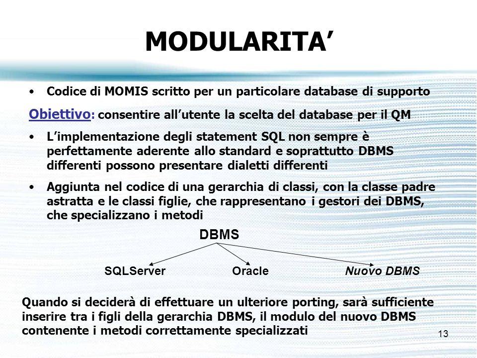 13 MODULARITA Codice di MOMIS scritto per un particolare database di supporto Obiettivo : consentire allutente la scelta del database per il QM Limplementazione degli statement SQL non sempre è perfettamente aderente allo standard e soprattutto DBMS differenti possono presentare dialetti differenti Aggiunta nel codice di una gerarchia di classi, con la classe padre astratta e le classi figlie, che rappresentano i gestori dei DBMS, che specializzano i metodi DBMS SQLServerOracle Quando si deciderà di effettuare un ulteriore porting, sarà sufficiente inserire tra i figli della gerarchia DBMS, il modulo del nuovo DBMS contenente i metodi correttamente specializzati Nuovo DBMS