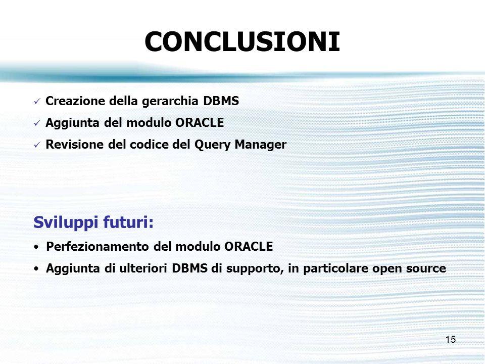 15 CONCLUSIONI Creazione della gerarchia DBMS Aggiunta del modulo ORACLE Revisione del codice del Query Manager Sviluppi futuri: Perfezionamento del modulo ORACLE Aggiunta di ulteriori DBMS di supporto, in particolare open source