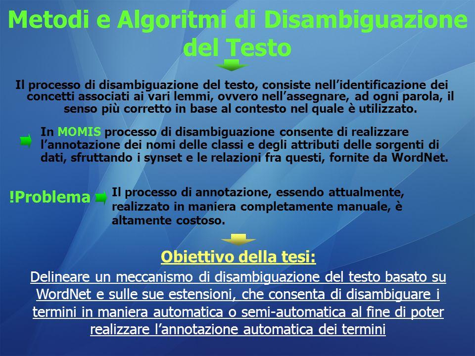 Metodi e Algoritmi di Disambiguazione del Testo Il processo di disambiguazione del testo, consiste nellidentificazione dei concetti associati ai vari