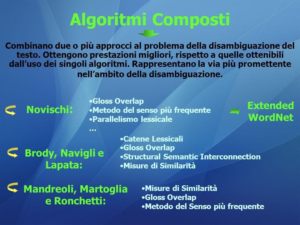 Algoritmi Composti Combinano due o più approcci al problema della disambiguazione del testo. Ottengono prestazioni migliori, rispetto a quelle ottenib