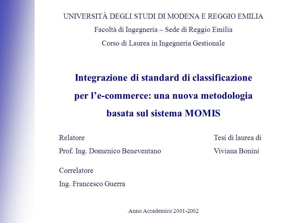Integrazione di standard di classificazione per le-commerce: una nuova metodologia basata sul sistema MOMIS UNIVERSITÀ DEGLI STUDI DI MODENA E REGGIO