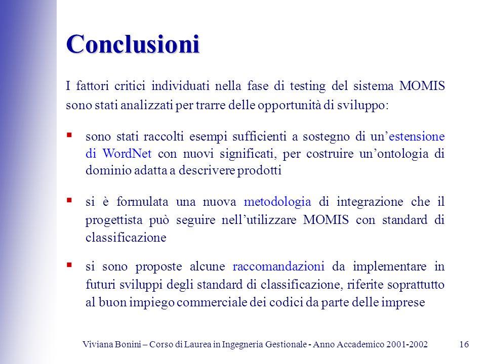 Viviana Bonini – Corso di Laurea in Ingegneria Gestionale - Anno Accademico 2001-200216 Conclusioni si è formulata una nuova metodologia di integrazio