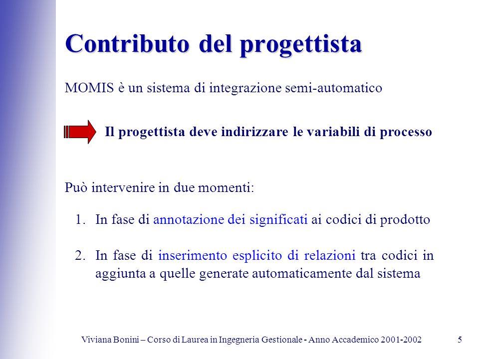Viviana Bonini – Corso di Laurea in Ingegneria Gestionale - Anno Accademico 2001-20025 Contributo del progettista MOMIS è un sistema di integrazione s
