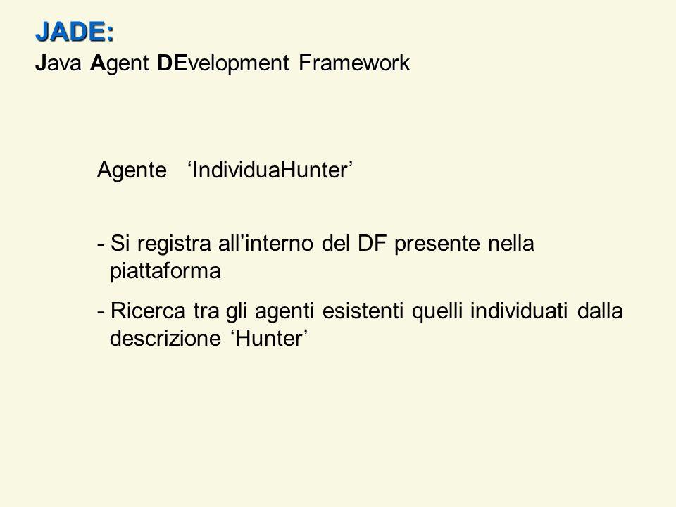 JADE: - Si registra allinterno del DF presente nella piattaforma - Ricerca tra gli agenti esistenti quelli individuati dalla descrizione Hunter Agente