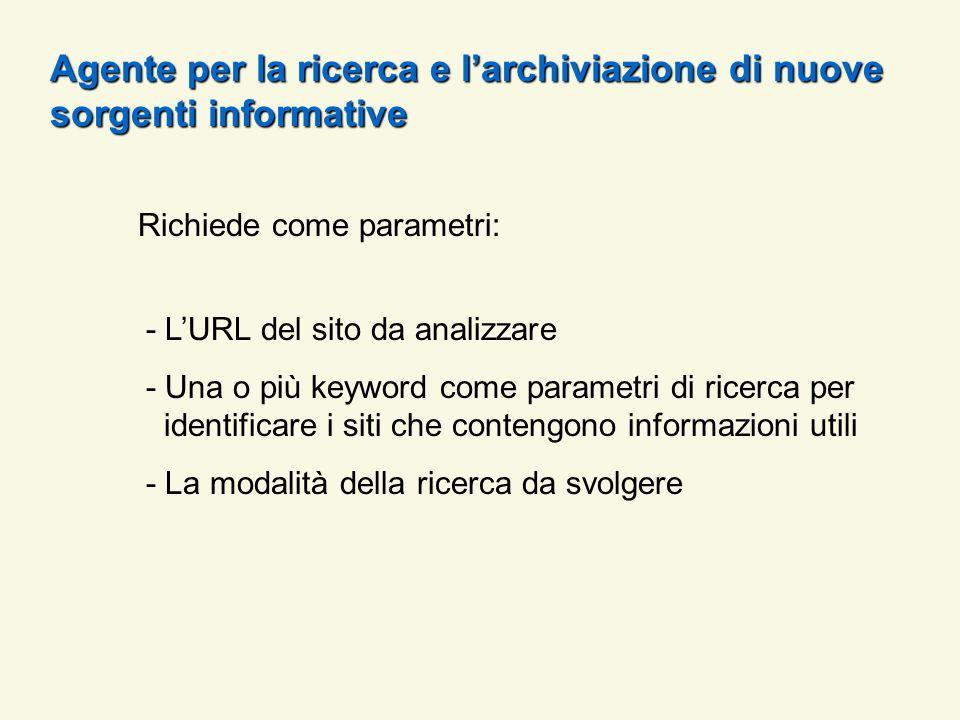 Richiede come parametri: - LURL del sito da analizzare - Una o più keyword come parametri di ricerca per identificare i siti che contengono informazio