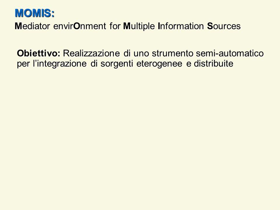 MOMIS: Mediator envirOnment for Multiple Information Sources Obiettivo: Realizzazione di uno strumento semi-automatico per lintegrazione di sorgenti eterogenee e distribuite Approccio adottato: semantico e virtuale