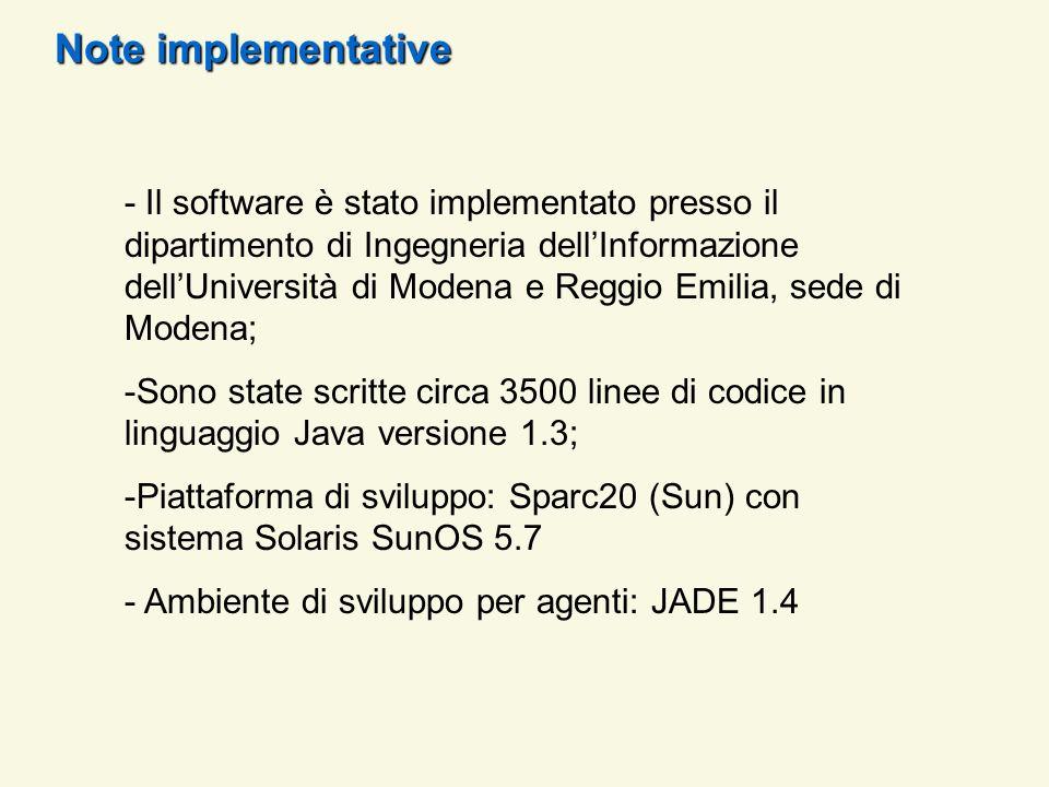 Note implementative - Il software è stato implementato presso il dipartimento di Ingegneria dellInformazione dellUniversità di Modena e Reggio Emilia,